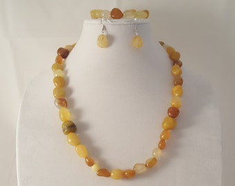 Yellow Stone Jewelry - Yellow Stone Bracelet - Yellow Stone Necklace - Yellow Stone Earrings - Yellow Stone - Stone Jewelry Set -Jewelry Set