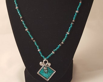 Teal Pendant Necklace - Teal Necklace - Teal Glass Bead - Long Necklace - Woman's Necklace - Woman's Teal Necklace - Women's Necklace - Teal