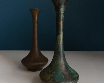 Mid Century Vases, Hand-painted Pair in Greens and Browns