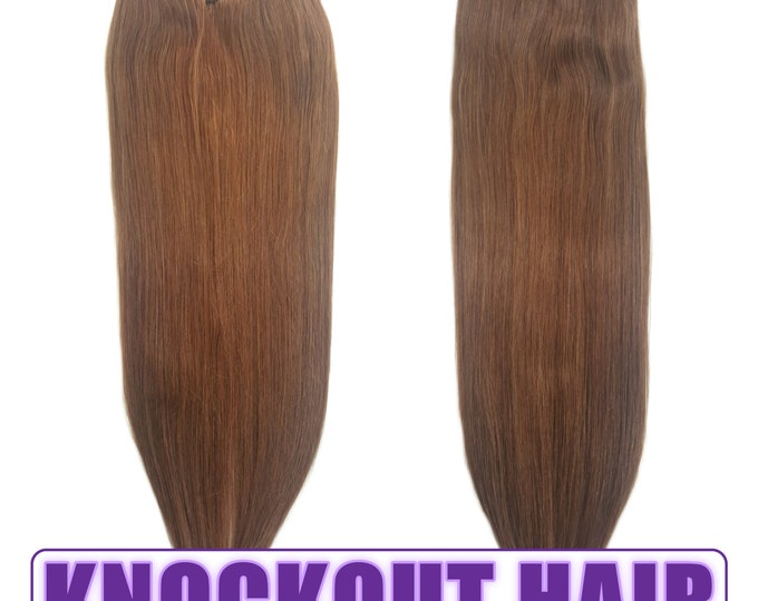 "Fits like a Halo Hair Extensions 20"" Light Natural Brown (#7A) - Human No Clip In Flip In Couture by Knockout Hair"