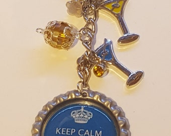 Keep Calm and Drink Wine Botllecap Keychain