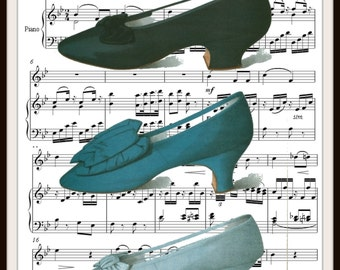 Vintage Shoes on Ephemera Art Print Wall Decor, 8.5 x 11, Reproducttion Unframed