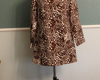 1960's 1970's Mod Chocolate Brown Light Jacket S-M