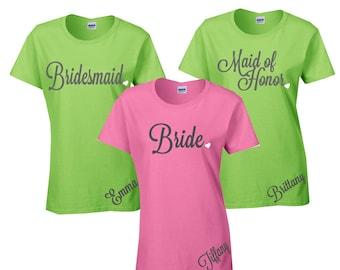 1 Personalized Bride, Bridesmaid,Maid of Honor, Mother of Bride Shirt, Bridesmaid Gift, Bachelorette, Bridal Shower Shirt