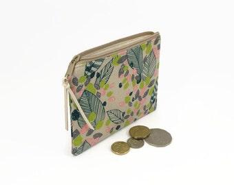 Womens wallet, Linen, Coin zipper purse, Zipper clutch wallet, Coin purse, Coin pouch, Floral purse, Coin purse wallet, Coin zipper pouch