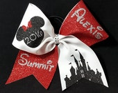 """3"""" personalized Summit/Worlds Sparkly Cheer Bow"""