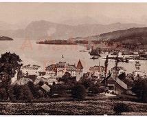 Victorian Trade Card Hood's Photos of the World First Series No. 63 Lucerne Switzerland Vintage Quack Medicine Ad Hood's Sarsaparilla