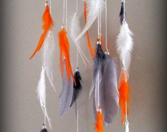 Orange Gray White Baby Mobile, Dream catcher Mobile, Boho Feather Mobile, Nursery Mobile, Woodland Mobile, Feather Decor