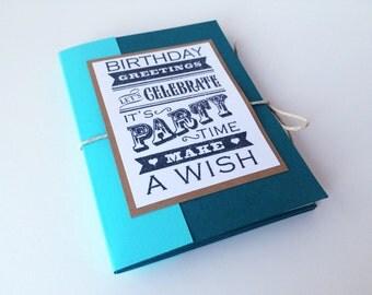 Birthday Book, Tri-fold Book, Gift Card Holder, Mini Celebration Book, Happy Birthday Card for Him, Birthday Card for Her, Mini Card