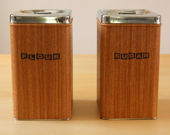 Vintage Kreamer Ware Faux Wood and Chrome Canister Set