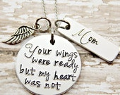 Memorial Jewelry - Your wings were ready my heart was not - Mom Memorial Jewelry - Mother Memorial Jewelry  - Grandma Memorial Jewelry