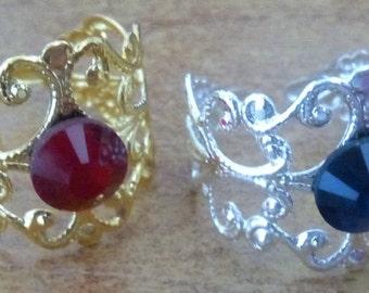 Adjustable rings filigree gold, silver or black