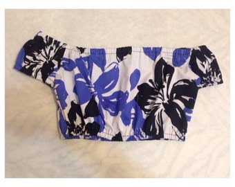 Bubbly Off the Shoulder Crop Top - Floral Print / Off the Shoulder / Crop Top / Cropped Top / Floral Print Crop Top / Floral Cropped Top