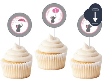 Elephant Cupcake Toppers, Elephant Thank You, INSTANT DOWNLOAD Pink and Grey Elephant 2' Favor Tags, Thank You Tags, Elephant Birthday)