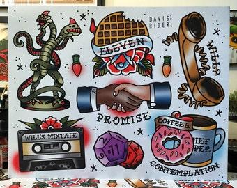 Stranger Things Tattoo Flash Sheet