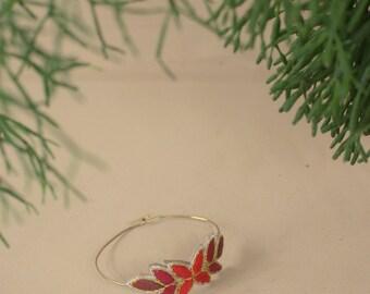 Handmade bracelet embroidered brass, embroidered sheets, Bangle, textile jewel bracelet, bracelet