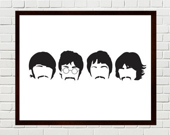Beatles Art, Sgt Pepper Print, Beatles Print, Beatles Silhouettes, The Beatles minimalist portraits