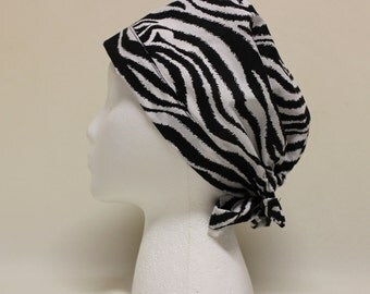 Black and White Zebra Stripes Surgical Scrub Cap Chemo Hat