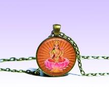 Lakshmi Gold Pendant Lakshmi NECKLACE Jewelery Amulet Charm Pendant for Him or Her