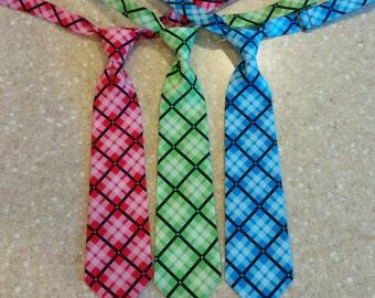 Plaid Necktie, Boy Necktie, Baby Necktie, Toddler Necktie, Blue Plaid Necktie, Pink Plaid Necktie, Green Plaid Necktie, Plaid Tie