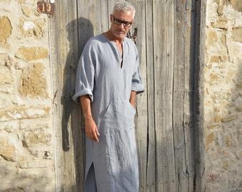 Cloudy Grey mens linen tunic. Hood optional. Minimal design.