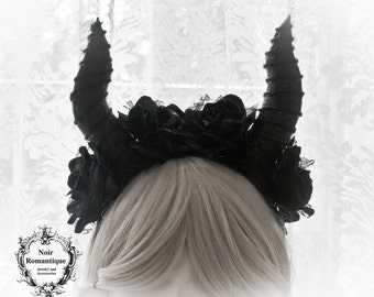 Gothic horned headpiece-horn flower headpiece-gothic headband-gothic accessories-fantasy cosplay fairy headband-Maleficent headpiece