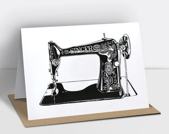 Singer sewing machine greetings card (risograph printed)