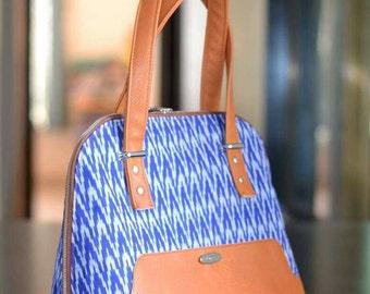 Ikat handbag Tote bag Brown leather bag Bowler bag Everyday bag Bagstock Women gift Women purse Handmade Bag Gift for her