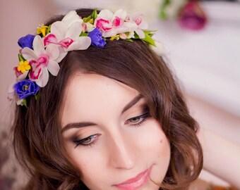 Flowers headband, оrchid Cymbidium, flower crown, headband, headpiece, hair flower, clay hair flower, flower hair accessorу