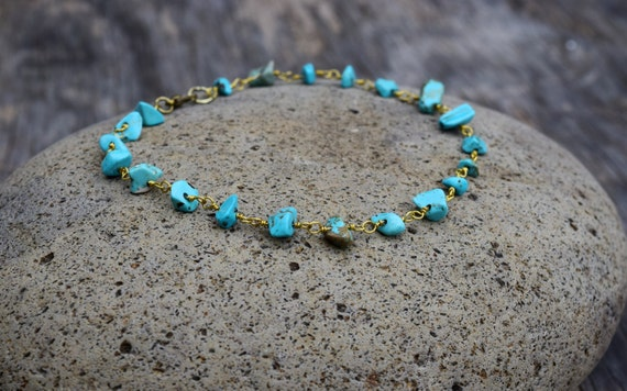 Turquoise Anklet, Boho Antique Gold and Stone Ankle Bracelet, Beach Beaded Turquoise Anklet, Body Jewelry, Blue Gold, Festival Beach Wear