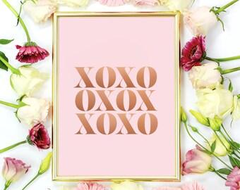 Typography Art Print, XOXO Print, Home Decor, Minimalist Modern, Wall Art, Typography Poster, Hugs And Kisses Print.