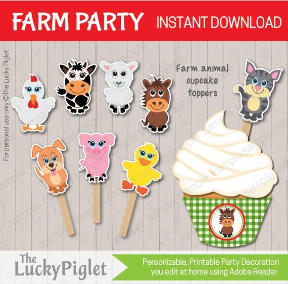 Farm Cupcake Toppers, Cake Toppers, Farm Animal Cupcake ...