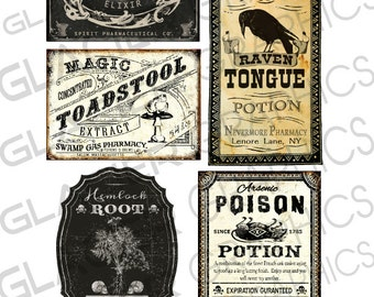 Halloween Poison Labels Halloween Witch Potion Labels Halloween Witchs' Brew Labels Digital Download Printable Collage Sheet
