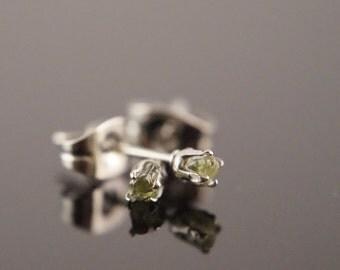 Peridot Stud Earrings - Stainless Steel Stud Earrings - August Stone - Raw Stone Earrings - Raw Crystal Earrings - Raw Peridot Earrings