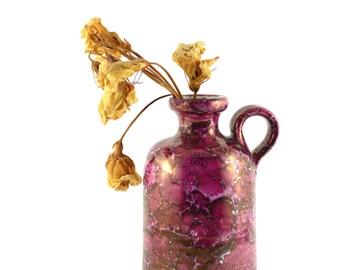 Vintage Pitcher, German Art Pottery, Mottled Pink Pitcher, Handthrown Pottery Pitcher Vase, Dark Pink Glaze Pitcher, Fine Art Studio Ceramic
