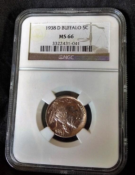 1938 D Buffalo Nickel NGC MS 66 Grade, Indian Nickel, Uncirculated Collectible Coin
