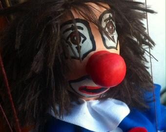 Wire puppet clown red blue specks