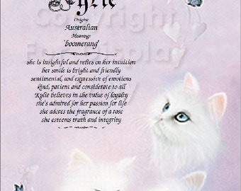 Cats Personalized Name Meaning Print