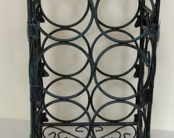 vintage 7 bottle wrought iron retro wine rack 7 bottle metal wine rack counter