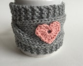 Heart Mug Cozy, Knit Coffee Cozy, Valentine's Day, Valentine's Gift Idea,Gray Mug Cozy with 3 color options for crochet heart