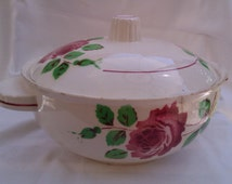 Vintage Lidded Vegetable Tureen, French Serving Dish, Badonviller Monique Red Roses Design
