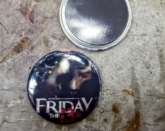"""Magnet or Pinback 2.25"""" 58mm Friday the 13th Jason Voorhies Horror Movie Button Fridge Magnet"""