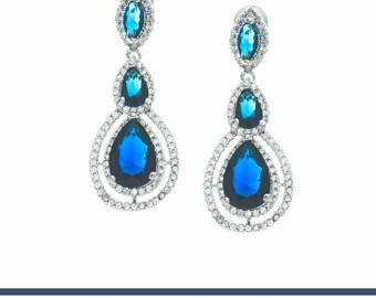Blue Bridal Earrings, Wedding Earrings, Wedding Jewelry, Crystal Drop Earring, Bridal Jewelry, Bridesmaids Earrings, Sapphire Earrings