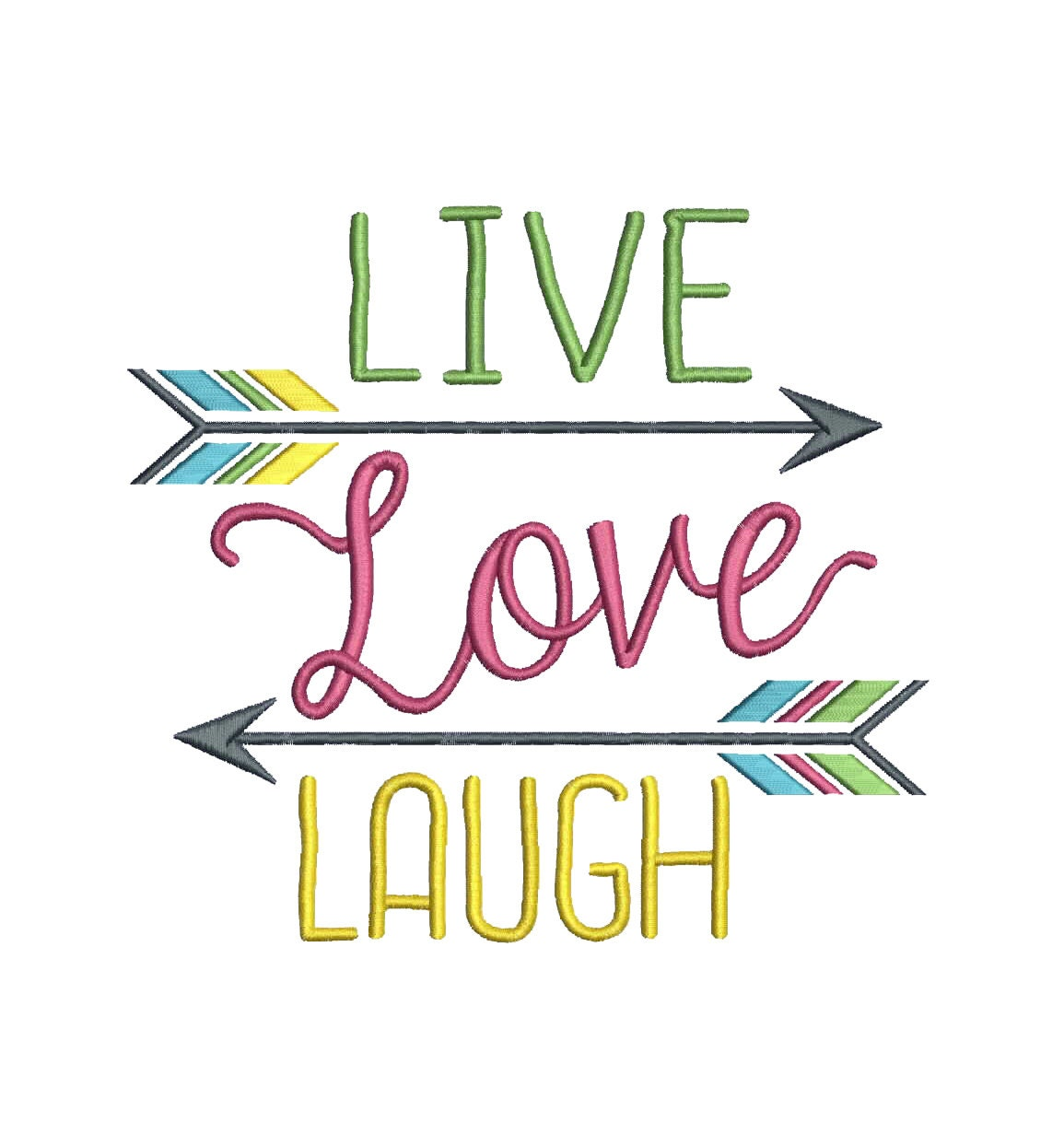 7 w large live love laugh with arrows embroidery design. Black Bedroom Furniture Sets. Home Design Ideas