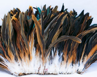 """Natural 7"""" - 10"""" strung rooster tail  feathers"""