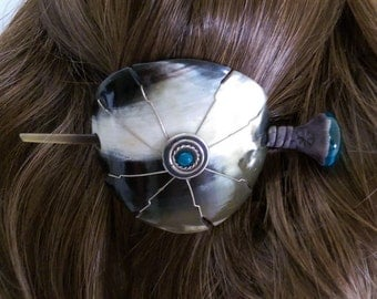Carved Horn Hair Slide Stick ~ Artisan Crafted Hand Made ~ Silver and Blue Glass Embellishment ~ One of a Kind Gift for her