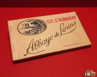 Île Saint-Honorat, Abbaye de Lérins Detachable French Postcard Set, 20 Color Souvenir Postcards, Vintage 1940s-1950s