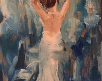 A Night to Rememeber: 18 x 24 inch impressionistic acrylic painting of a woman in a white, formal gown