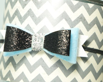 Cinderella Headband - Alice and Wonderland Bow - Disney Bow - Blue, black, and white Bow - Newborn, Baby, Infant, Toddler, Child