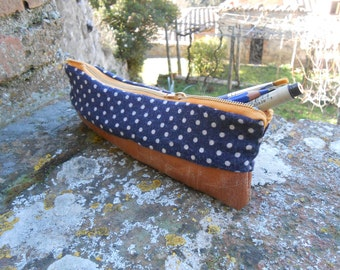 Navy Blue/White Polkadot and Leather, Hand-sewn Pencil Case!